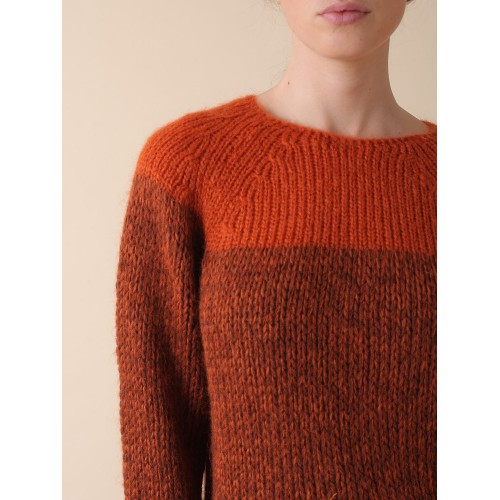 INDI & COLD JERSEY COLOR BLOCK MOHAIR TERRACOTA
